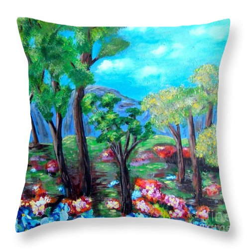 Fantasy Throw Pillow featuring the painting Fantasy Forest by Laurie Morgan