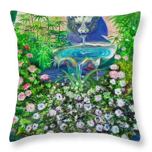 Fountain Throw Pillow featuring the painting Fantasy Fountain by Michael Durst