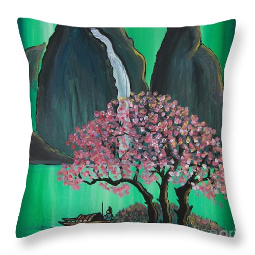 Japan Throw Pillow featuring the painting Fantasy Japan by Jacqueline Athmann