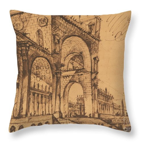Throw Pillow featuring the drawing Fantasy On A Magnificent Triumphal Artch by Giovanni Battista Piranesi