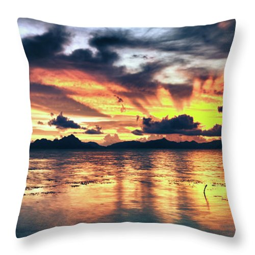 Seascape Throw Pillow featuring the photograph Fantasy Sunset by MotHaiBaPhoto Prints