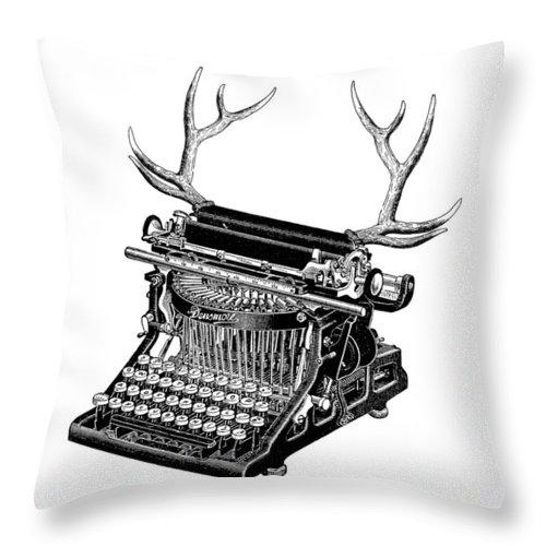 Typewriter Throw Pillow featuring the digital art Fantasy Typewriter by Madame Memento