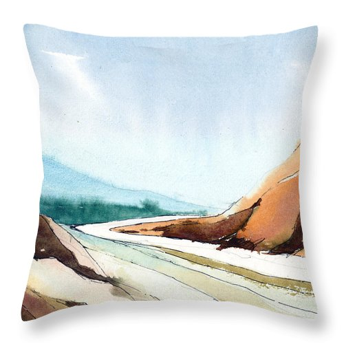 Landscape Throw Pillow featuring the painting Far Away by Anil Nene