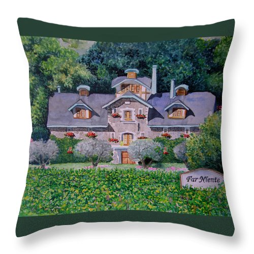 Cityscape Throw Pillow featuring the painting Far Niente Winery by Gail Chandler