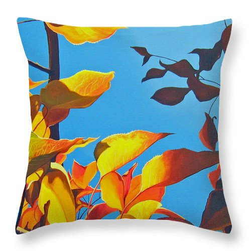 Fall Throw Pillow featuring the painting Farewell To Summer by Hunter Jay