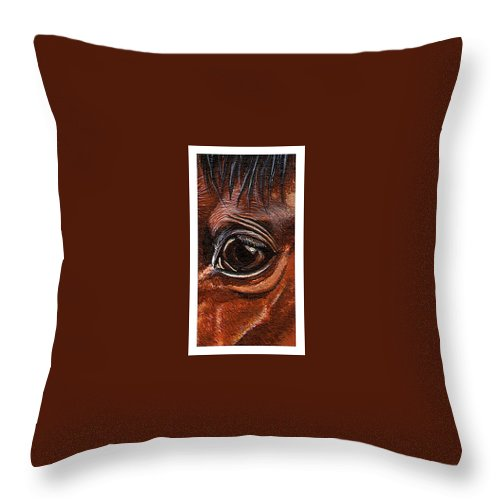 Horse Throw Pillow featuring the painting Farley Detail by Kristen Wesch