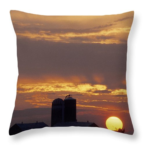 Farm Throw Pillow featuring the photograph Farm At Sunset by Steve Somerville