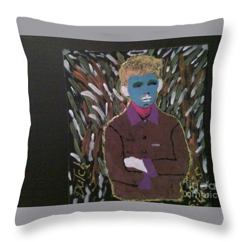 Throw Pillow featuring the painting Farm Boy by Dutch MARCHING