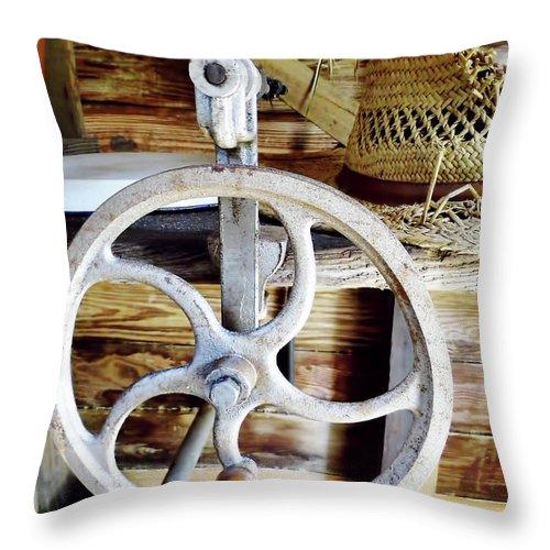 Corn Sheller Throw Pillow featuring the photograph Farm Equipment Corn Sheller by D Hackett