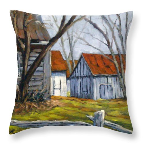 Farm Throw Pillow featuring the painting Farm In Berthierville by Richard T Pranke