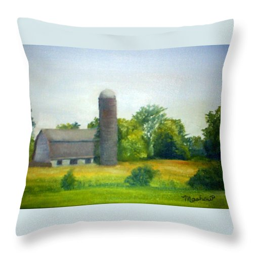 Farm Throw Pillow featuring the painting Farm In The Pine Barrens by Sheila Mashaw