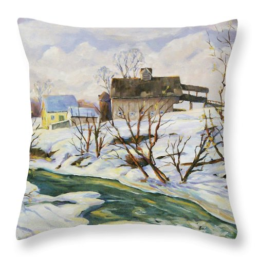 Farm Throw Pillow featuring the painting Farm In Winter by Richard T Pranke