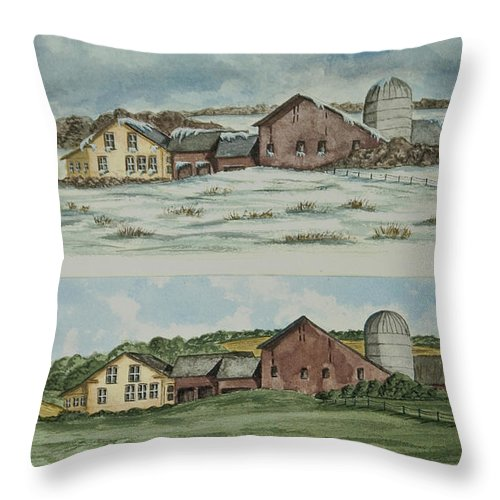 Winter Throw Pillow featuring the painting Farm Of Seasons by Charlotte Blanchard