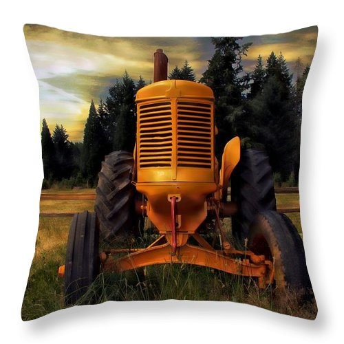 Tractor Throw Pillow featuring the photograph Farm On by Aaron Berg