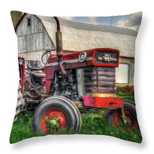 Canada Throw Pillow featuring the photograph Farm Scene - Painting by Garvin Hunter