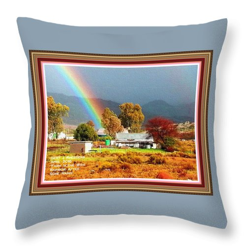 Rural Throw Pillow featuring the painting Farm Scene With Rainbow After Some Rains L A With Decorative Ornate Printed Frame. by Gert J Rheeders