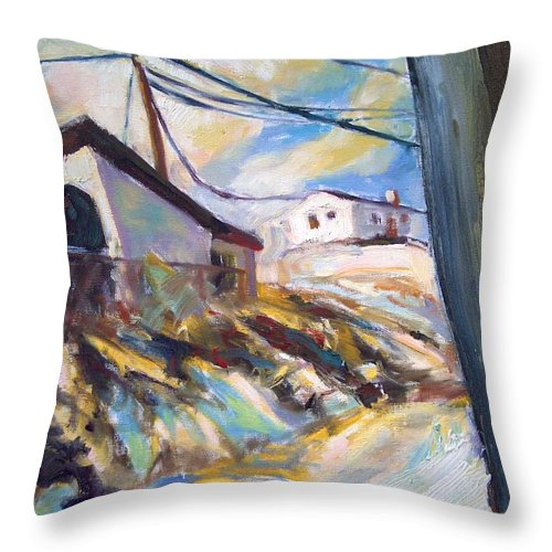 Dornberg Throw Pillow featuring the painting Farm Structures With Snow by Bob Dornberg