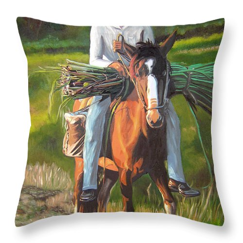 Cuban Art Throw Pillow featuring the painting Farmer On A Horse by Jose Manuel Abraham