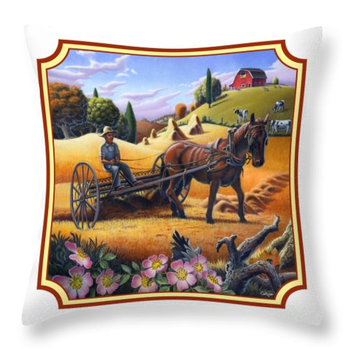 Raking Hay Throw Pillow featuring the painting Farmer Raking The Hay Country Farm Life Landscape - Square Format by Walt Curlee