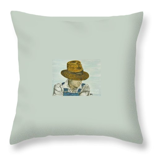 Portrait Throw Pillow featuring the painting Farmer Ted by Regan J Smith