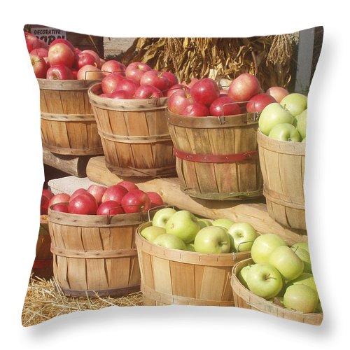 Farmers Market Throw Pillow featuring the photograph Farmer's Market Apples by Wayne Potrafka