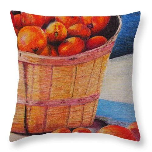 Produce In A Basket Throw Pillow featuring the drawing Farmers Market Produce by Nadine Rippelmeyer