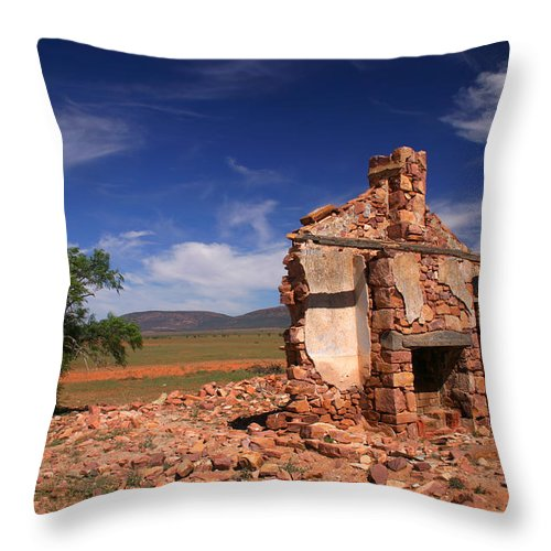 Cottage Throw Pillow featuring the photograph Farmhouse Cottage Ruin Flinders Ranges South Australia by Ralph A Ledergerber-Photography