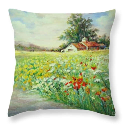 Canvas Prints Throw Pillow featuring the painting Farmhouse by Madeleine Holzberg