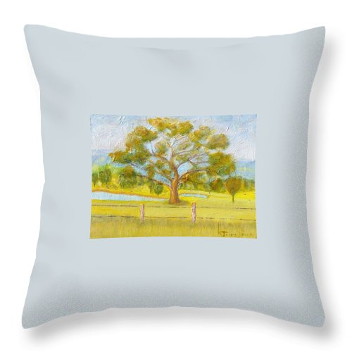 Oil Throw Pillow featuring the painting Farming by Richard Benson