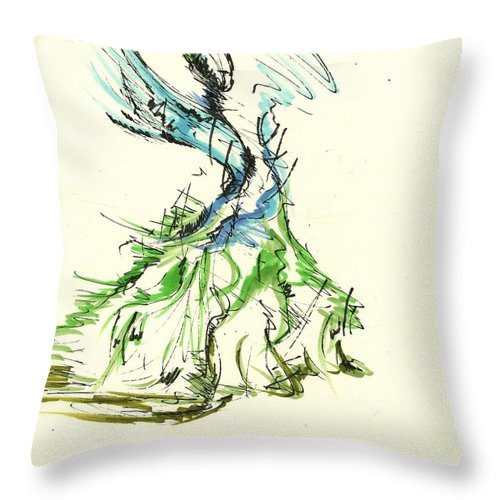 Fashion Illustration Throw Pillow featuring the drawing Fashionista 3 by Nadine Westerveld