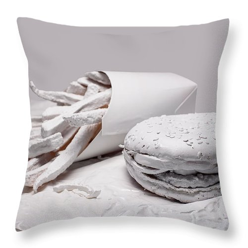 Art Throw Pillow featuring the photograph Fast Food - Burger And Fries by Tom Mc Nemar