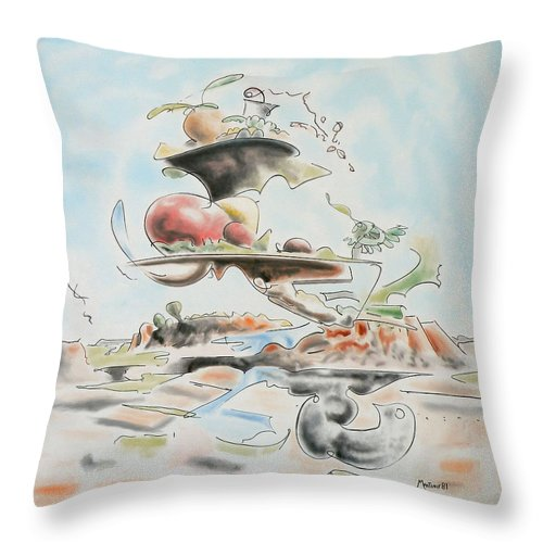 Abstract Throw Pillow featuring the painting Fast Food by Dave Martsolf