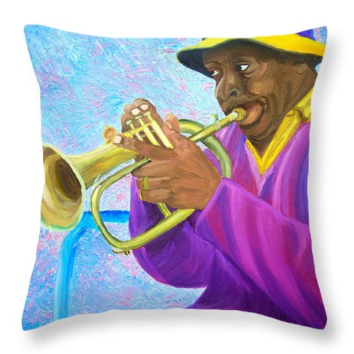 Street Musician Throw Pillow featuring the painting Fat Albert Plays The Trumpet by Michael Lee