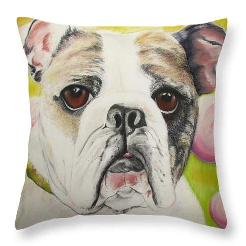 Dog Painting Throw Pillow featuring the pastel Fat Rose by Michelle Hayden-Marsan