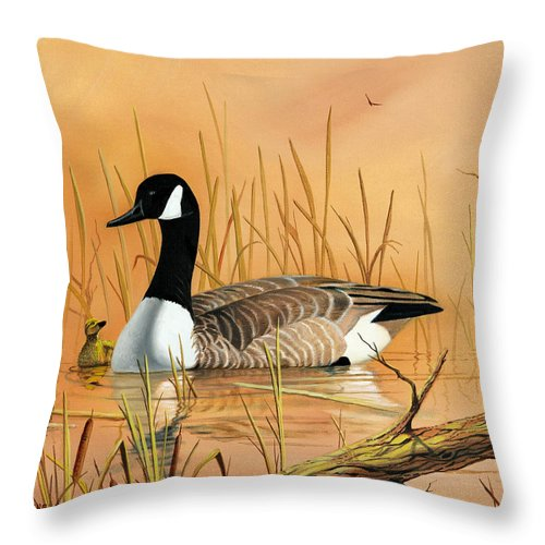 Duck Throw Pillow featuring the painting Father And Son by Don Griffiths
