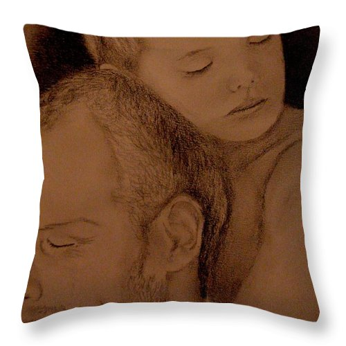 Portrait Throw Pillow featuring the painting Father And Son by Glory Fraulein Wolfe