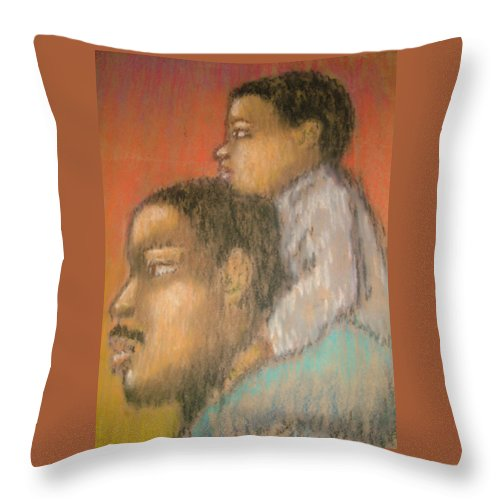 Throw Pillow featuring the drawing Father And Son by Jan Gilmore