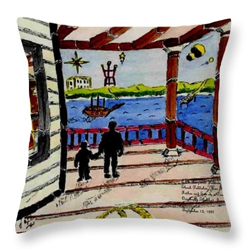 Boy Throw Pillow featuring the painting Father and son on the Porch by Anthony Benjamin