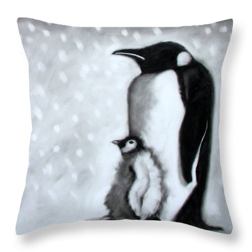 Penguin Throw Pillow featuring the painting Father And Son by Paul Powis