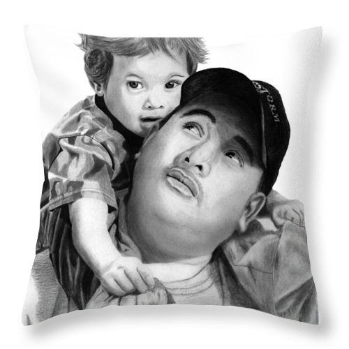 Father And Son Throw Pillow featuring the drawing Father And Son by Peter Piatt