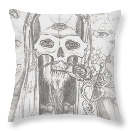 Skeleton.eyes Throw Pillow featuring the drawing Father Health And Wisdom by Americo Salazar