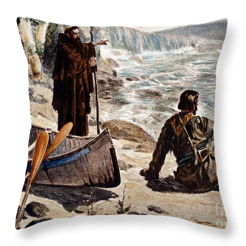 1680 Throw Pillow featuring the painting Father Louis Hennepin by Granger