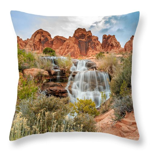 Landscape Throw Pillow featuring the photograph Faux Falls by Gina Herbert