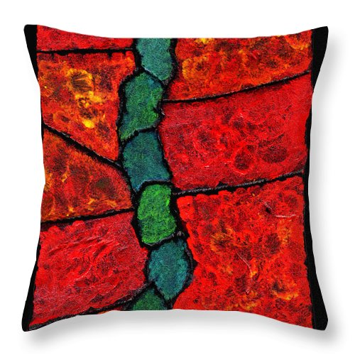 Abstract Throw Pillow featuring the painting Faux Tile Painting One by Wayne Potrafka