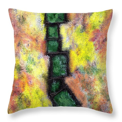 Abstract Throw Pillow featuring the painting Faux Tile Two by Wayne Potrafka