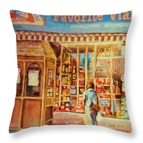 Markets Throw Pillow featuring the painting Favorite Viande Market by Carole Spandau