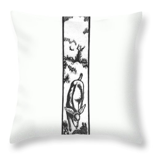 Animal Throw Pillow featuring the drawing Fawn And Cottontail Greeting by Dawn Senior-Trask