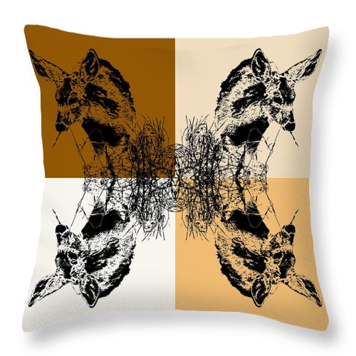 Fawn Eating Grass Coffee Tones Photography on Throw Pillow