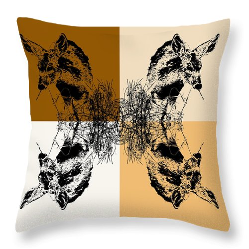 Fawn Eating Grass Throw Pillow featuring the photograph Fawn Eating Grass Coffee Tones by Colleen Cornelius
