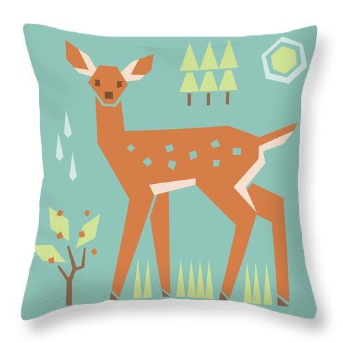 Fawn In The Meadow Throw Pillow